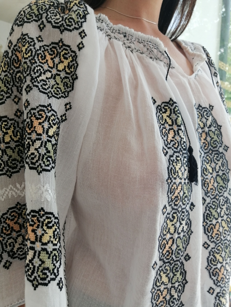 Handmade embroidered cotton top
