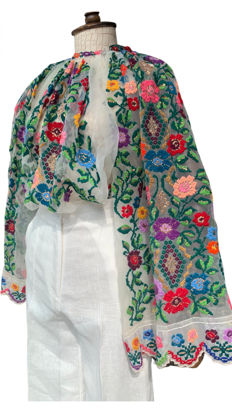 Haute Couture Folk Vintage floral embroidered Romanian blouse cca 1980 1990