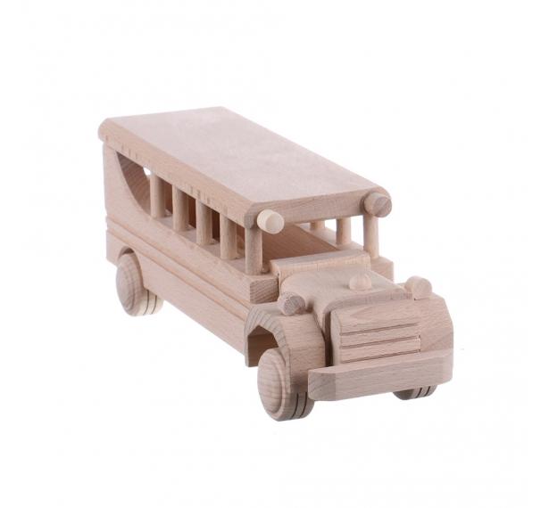 Jucarie din lemn necolorata model autobuz clasic