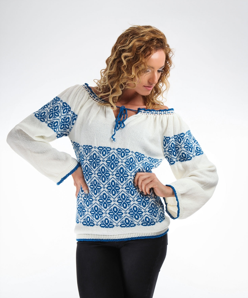 Knitted Folk Design Sweater With Traditional Motifs On Blue  Onibon
