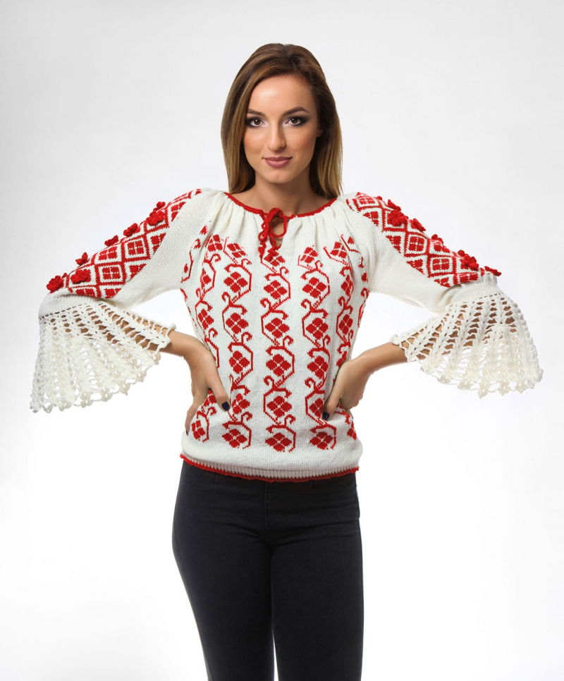 Knitted folk design sweater with traditional motifs on floral red   Onibon