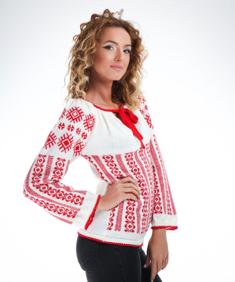 Knitted folk design sweater with traditional motifs on red - Onibon