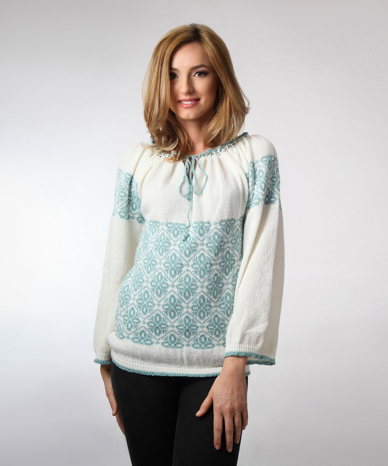 Knitted Romanian blouse style sweater with traditional mint green motif and crocheted edge