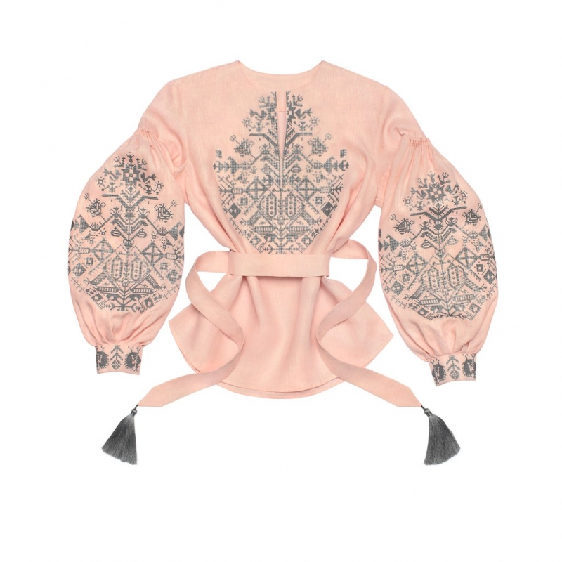 Light pink blouse with embroidery