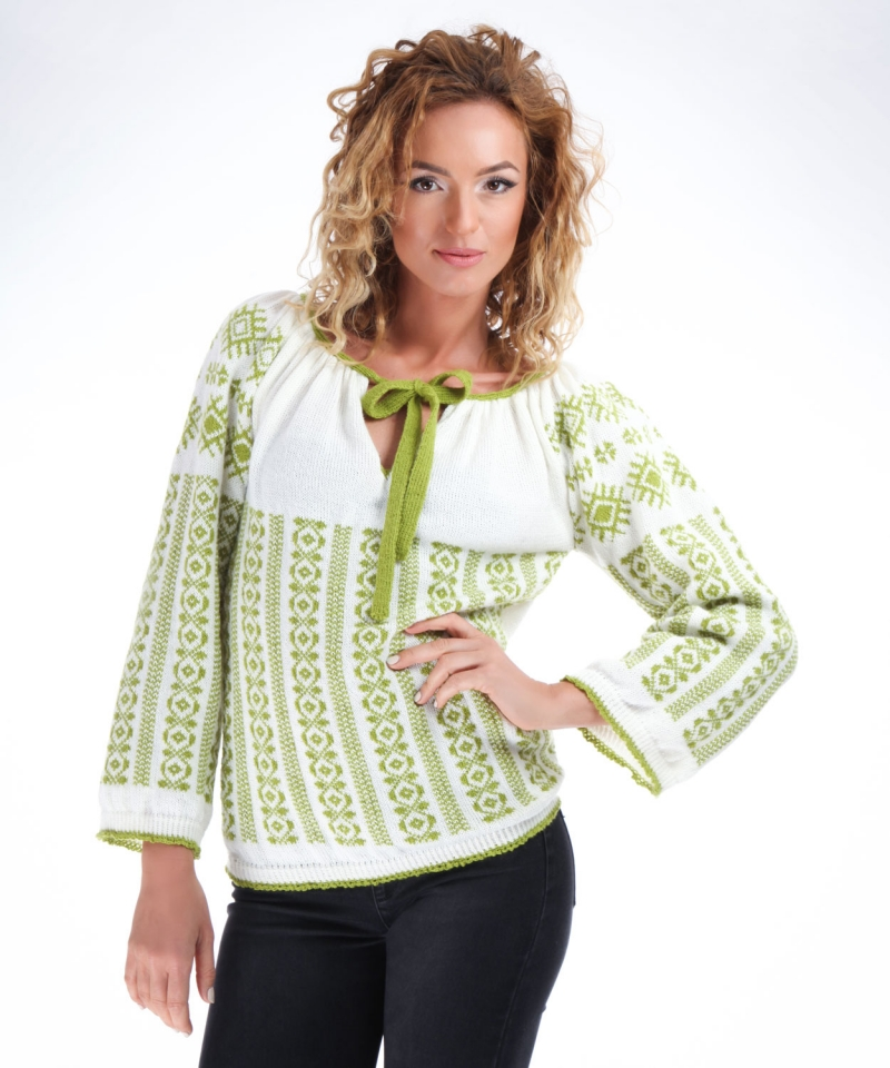 Lime green knitted sweater with traditional Romanian folk motifs Onibon