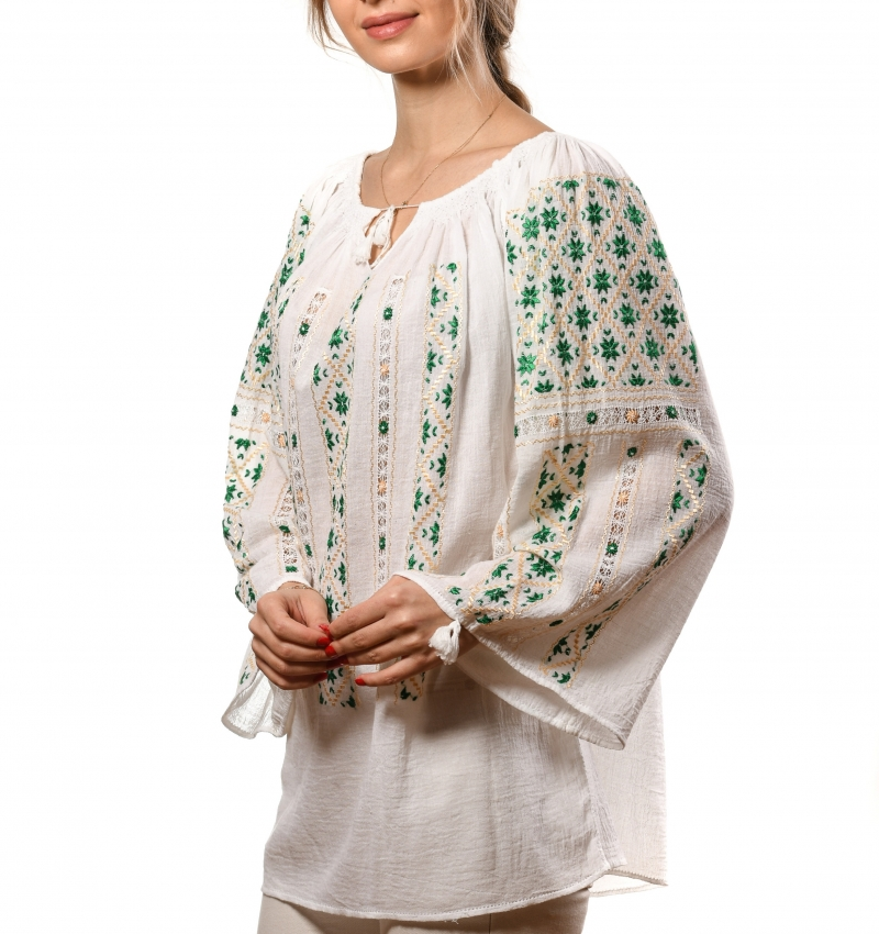 Linen cloth Romanian peasant embroidered blouse handmade The Eight Pointed Star symbol
