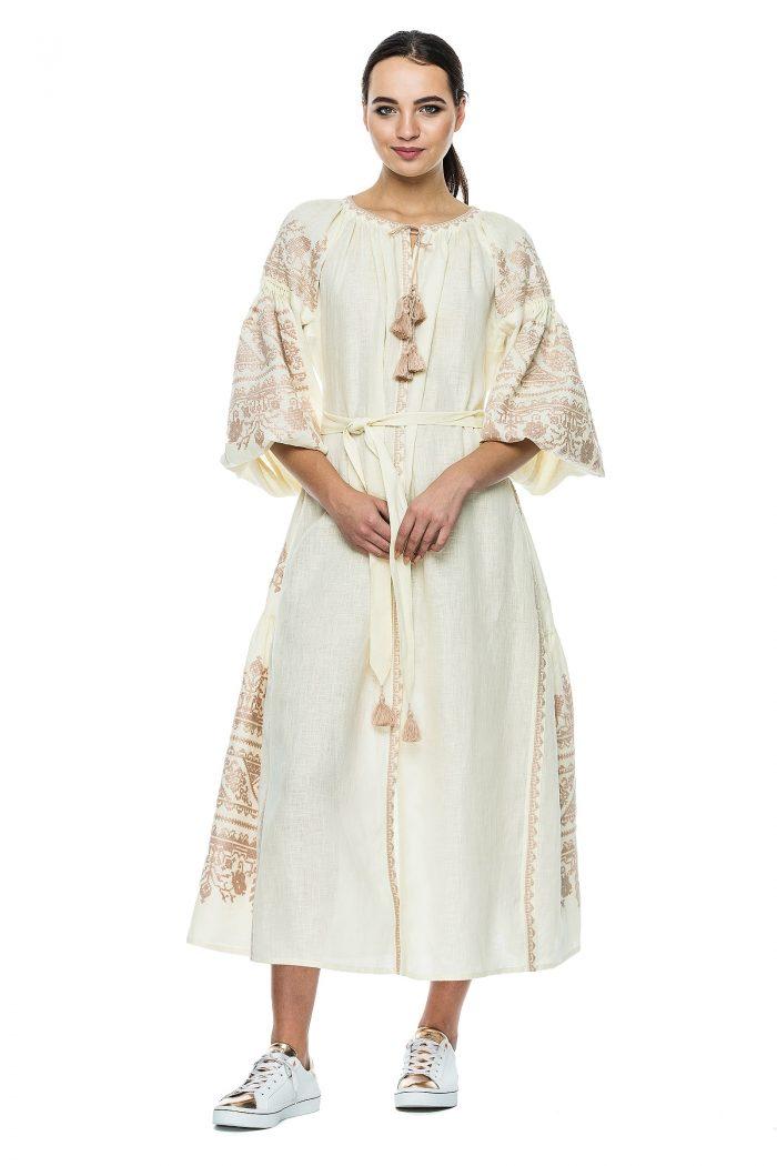 Linen Maxi Boho Luxe Embroidered  Dress Sobin BAZENA