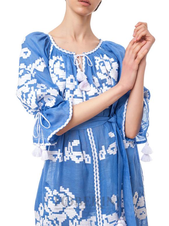 Long blue ocean embroidered maxi dress Ocean Foberini