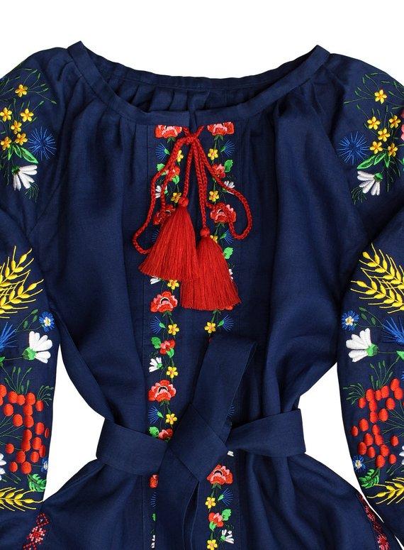 Long dark blue linen long dress with embroidered floral pattern - 100% natural linen - ethnic folk ukrainian dress vyshyvanka
