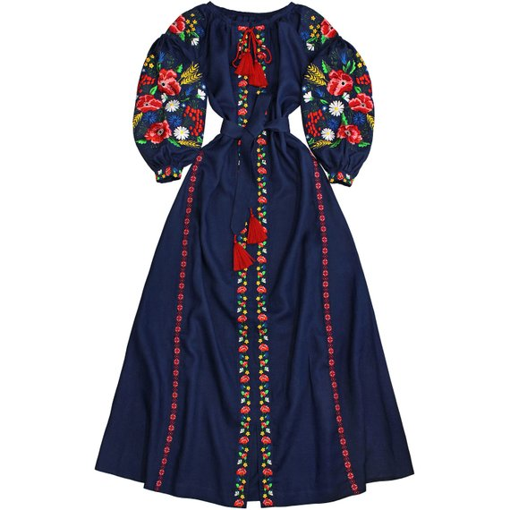 Long dark blue linen long dress with embroidered floral pattern - 100% natural linen - ethnic folk ukrainian dress vyshyvanka