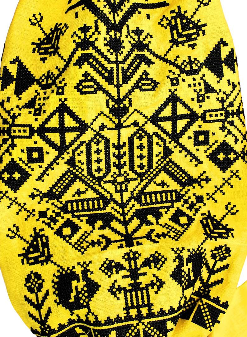 "Long yellow dress vyshyvanka with embroidery ""King-Bird"", ethnic style luxury dress - natural linen with folk geometric pattern"