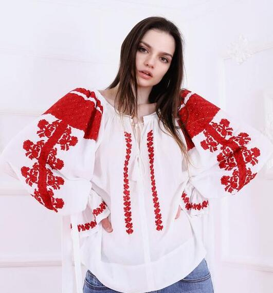 Maria embroidered blouse with traditional inspired Romanian embroidery pattern