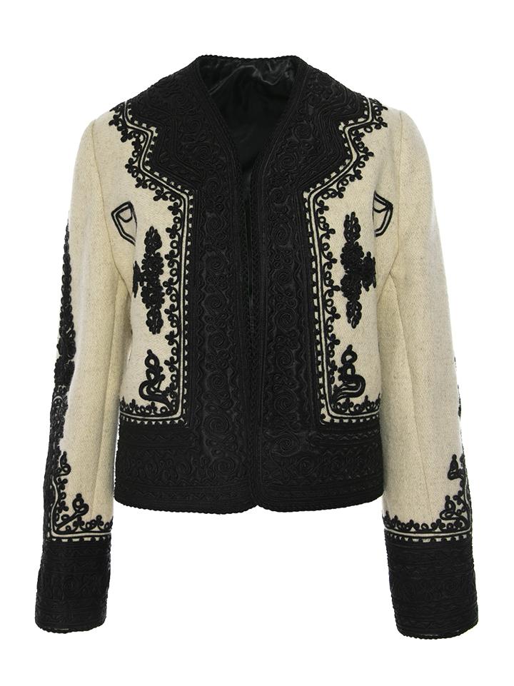 Jacheta traditionala  Martha Bibescu din lana si casmir cu gaitane lucrata manual