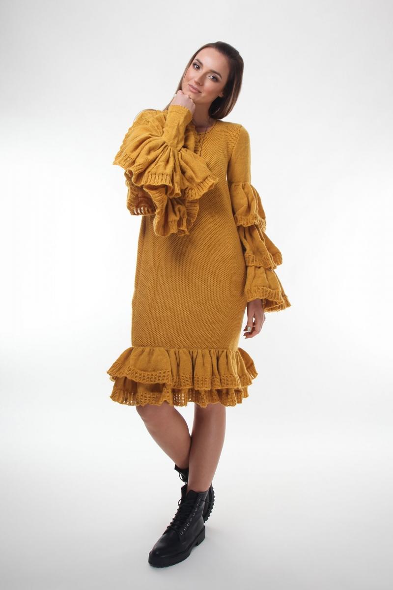 Rochie maxi oversize tricotata maneca lunga cu volane  galben mustar
