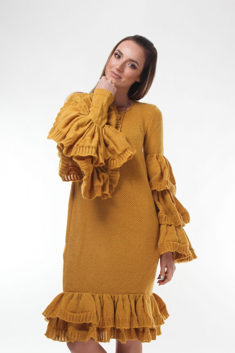Mazi knitted dress long sleeved and wide riffles in  yellow mustard color