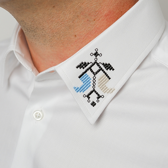 Men shirt with Romanian traditional motifs embroidery ALISIA ENCO