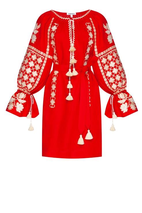 Rochie mini stil traditional Zoryana broderie etnica rosu Foberini