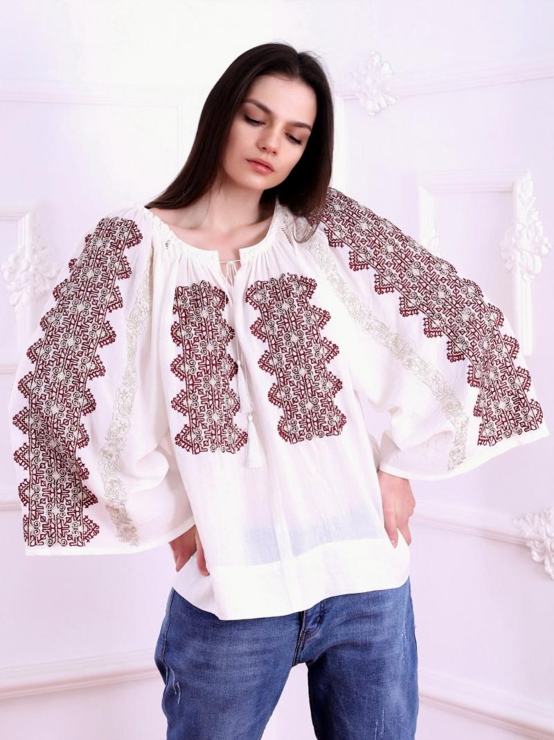 Modern Romanian Embroidery Blouse Magnifique Marsalla Red FLORII