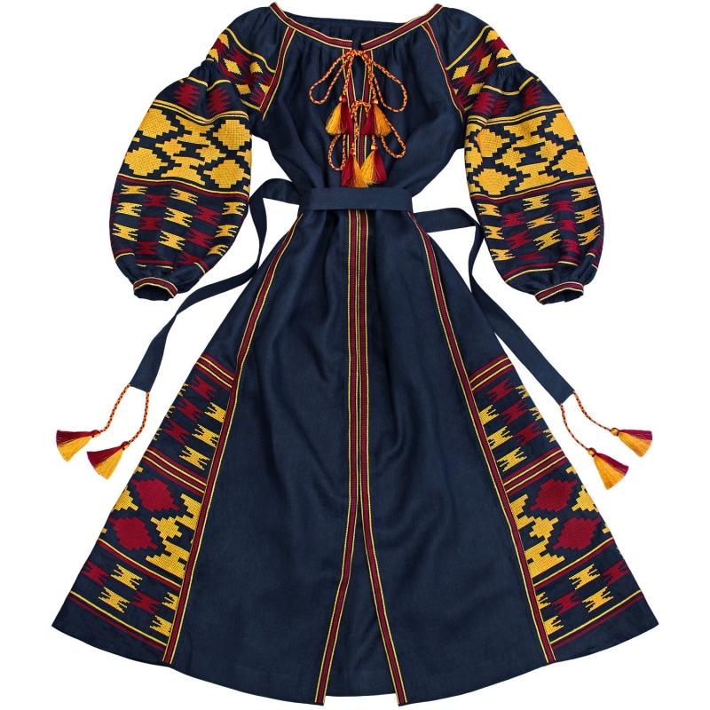 Rochie lunga boho cu broderie folk albastru inchis - 100% panza naturala -motive folclorice geometrice