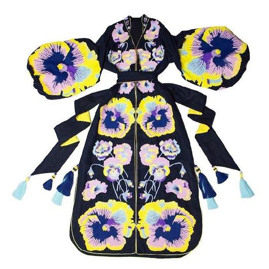 Navy blue Kaftan with embroidered pansies