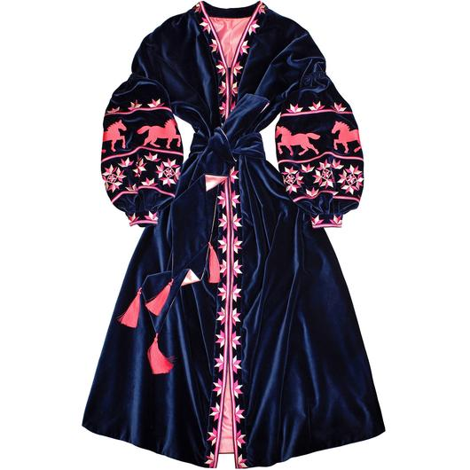 Navy blue velvet embroidered dress - ukrainian dress vyshyvanka with horses - 100% natural cotton - free shipping - kaftan abaya robe