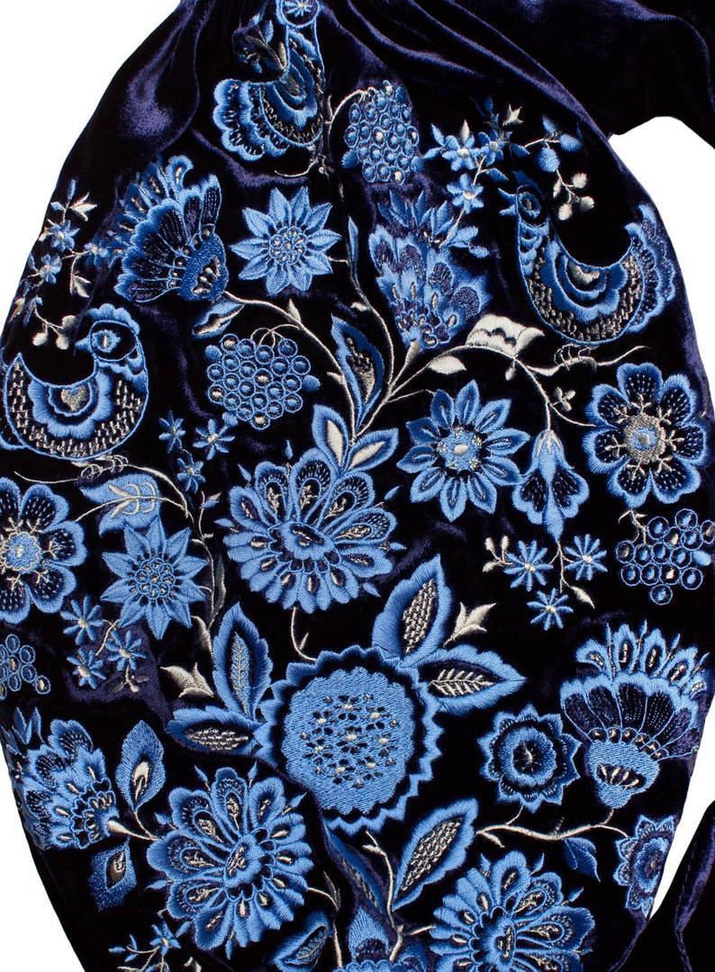 Navy blue velvet maxi dress - folk ethnic ukrainian dress vyshyvanka with ancient floral pattern - kaftan abaya robe