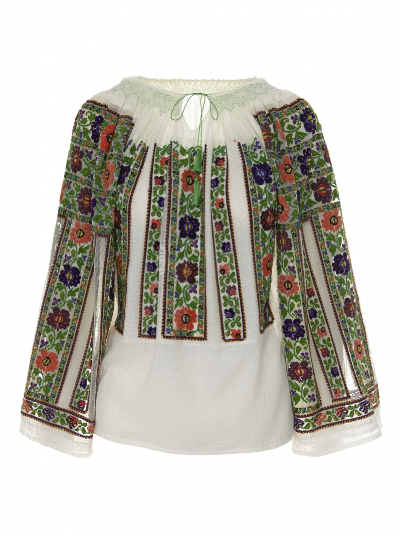 One of a kind Romanian genuine vintage blouse floral embroidered pattern 092101