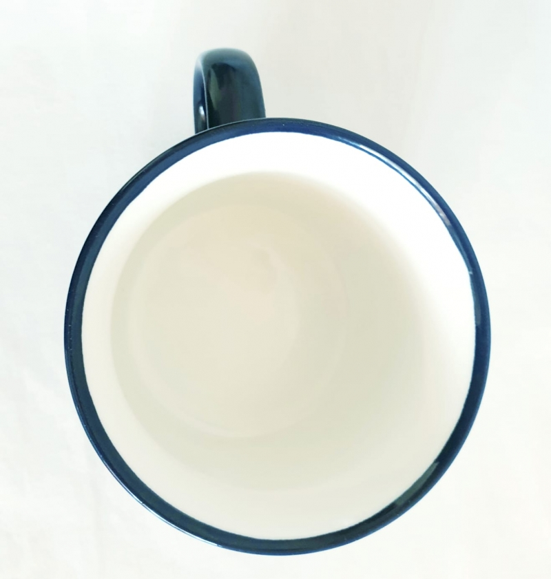 Porcelain Cup Handpainted Depicting Romanian Motifs Dark Blue