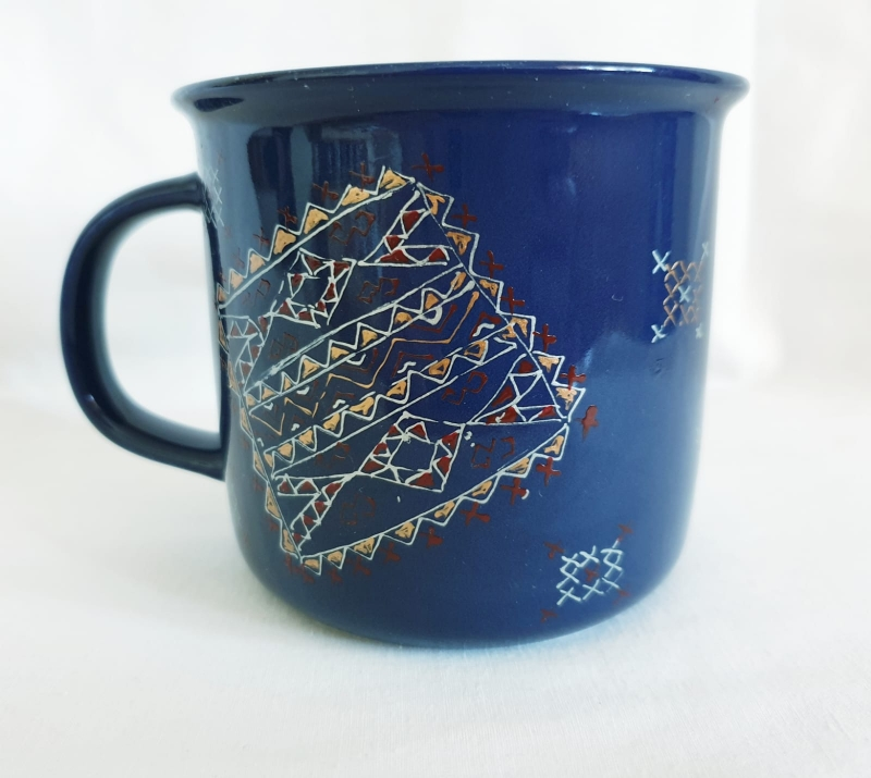 Porcelain Cup Handpainted Depicting Romanian Motifs Dark Blue