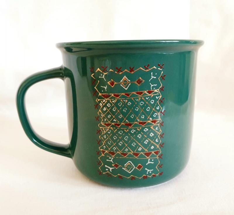 Porcelain Cup Handpainted Depicting Romanian Motifs Green
