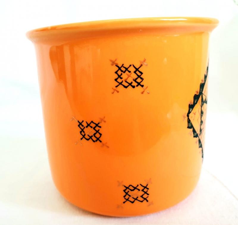 Porcelain Cup Handpainted Depicting Romanian Motifs Orange