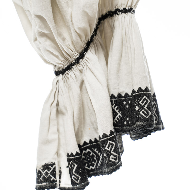 Rare find Early XX century vintage Romanian blouse hand embroidered white homemade cloth with black embroidery - handmade
