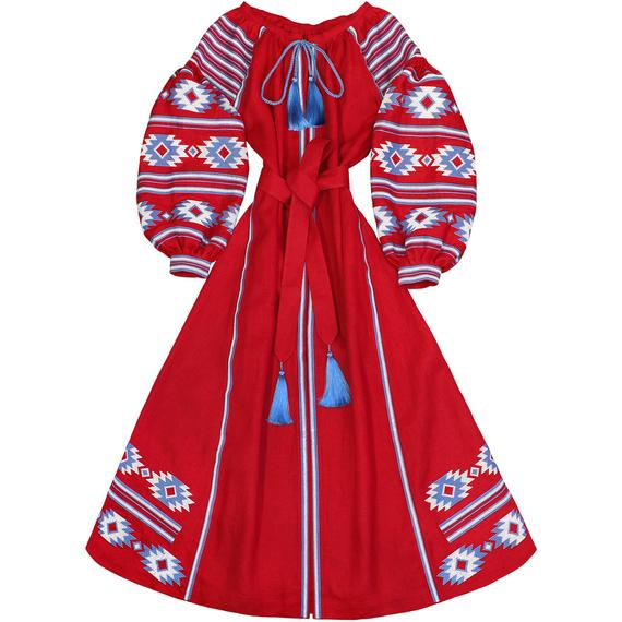 Red linen long dress with embroidered geometric pattern - maxi ethnic folk ukrainian dress vyshyvanka - 100% natural linen-kaftan abaya robe