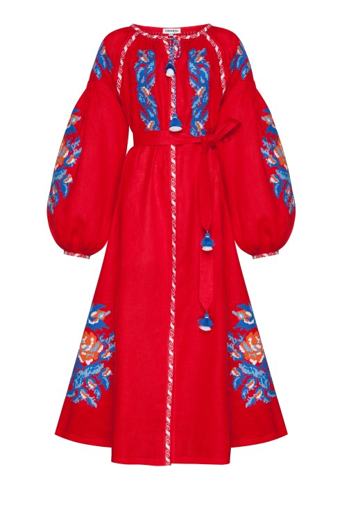 Red midi dress folk traditional style embroidery Claire Foberini