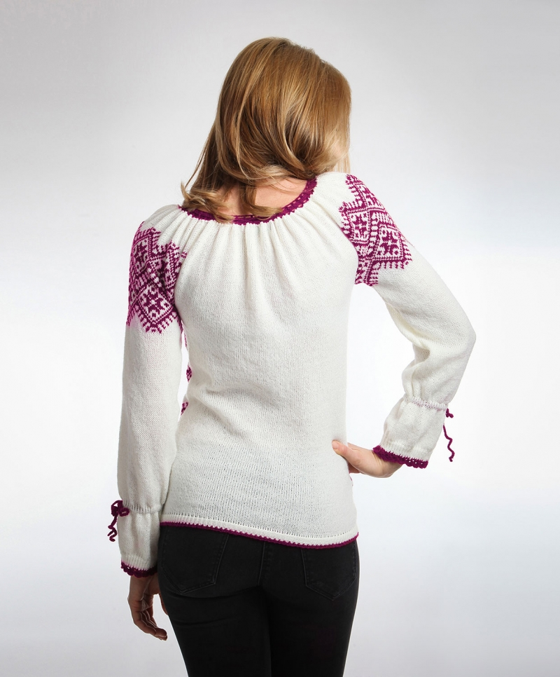 Red Violet  Knitted Romanian Folk Sweater Onibon