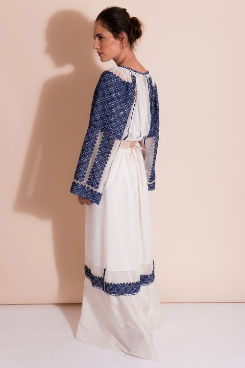 Blue Embroidered dress