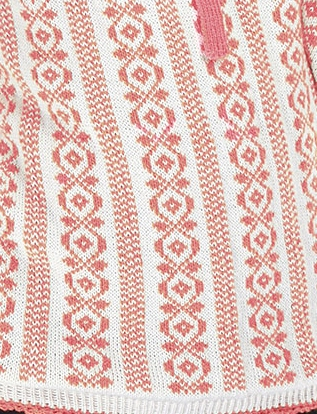 Romanian Blouse Knitwear in dashing pink knitted sweater with traditional folk pattern