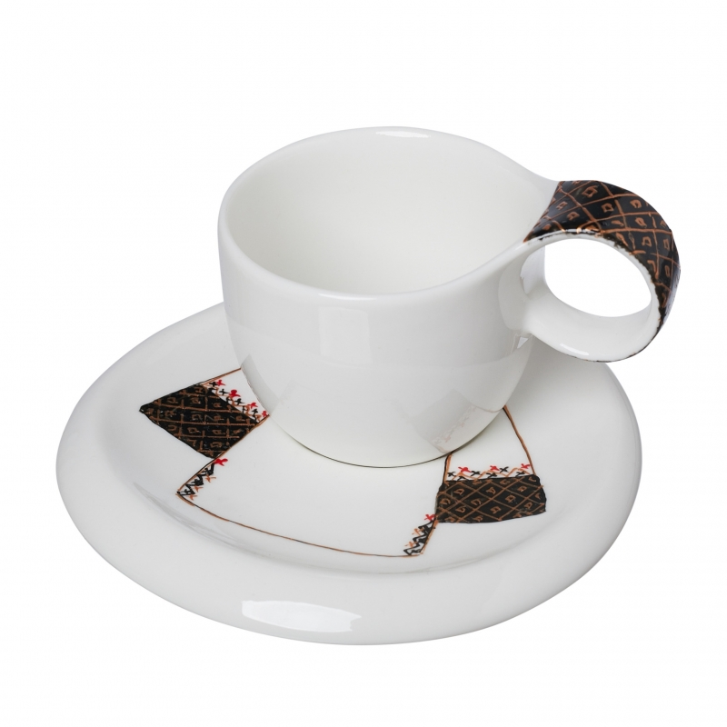 Romanian Blouse Painted Cup And Saucer 2