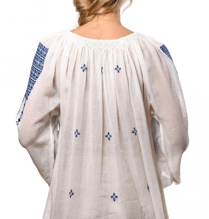 Ie romaneasca traditionala cusuta manual model albastru Prahova