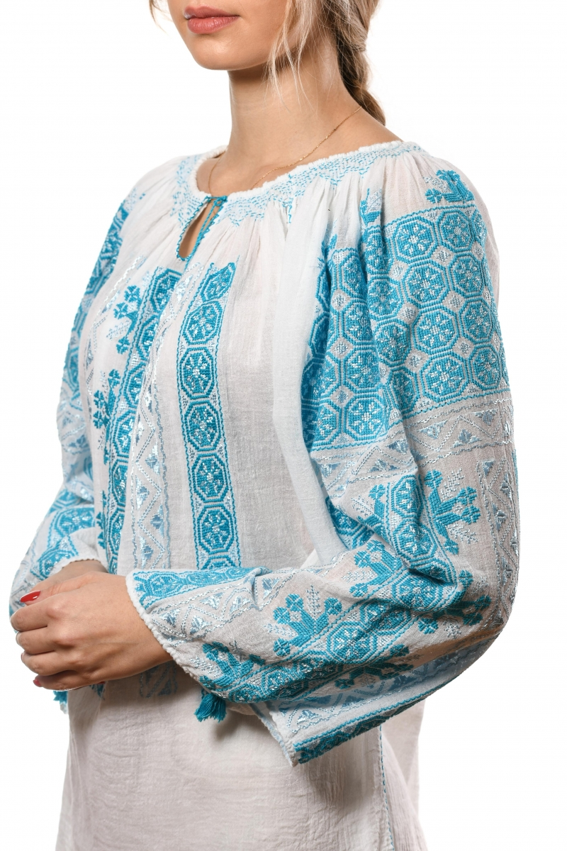 Romanian embroidered blouse with turquoise traditional pattern The wheel of Fortune symbol