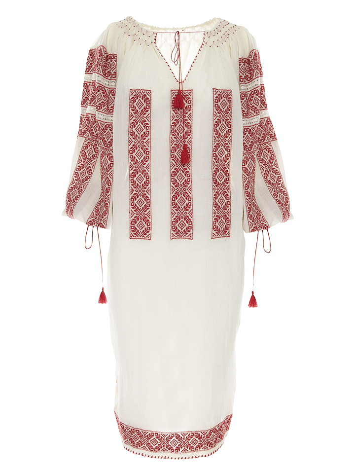 Romanian Embroidered Dress in Red Royal Flowers