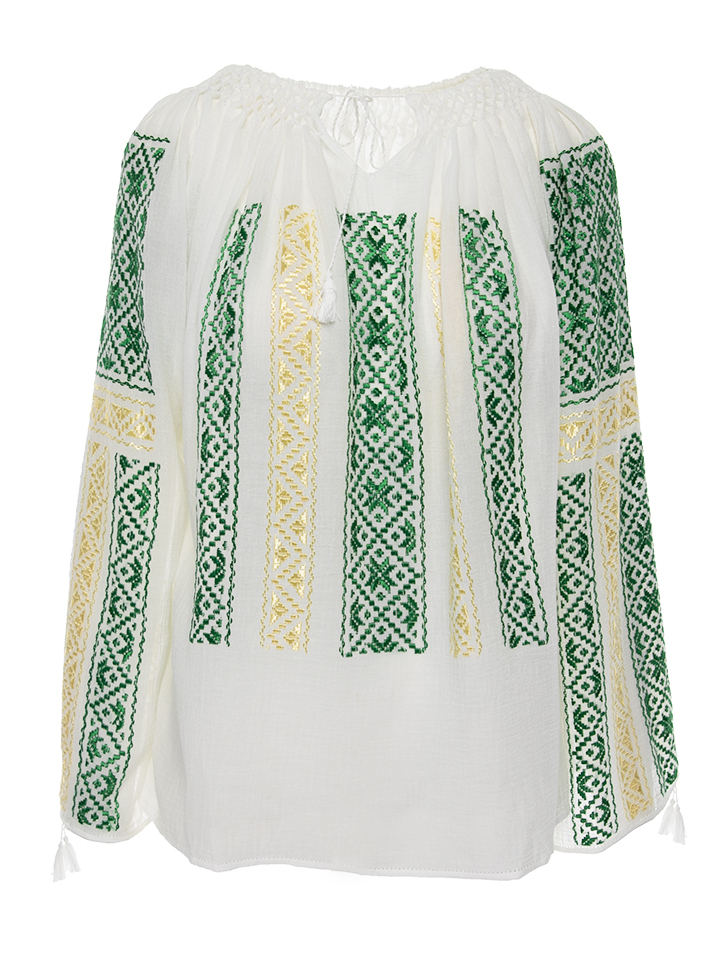 Romanian embroidered gauze with green and gold silk embroidery