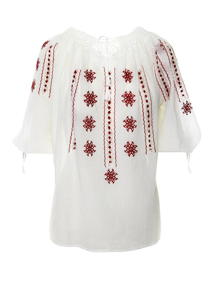 Ie romaneasca femei maneca scurta model Unghia Gaii broderie rosie lucrata manual in Breaza