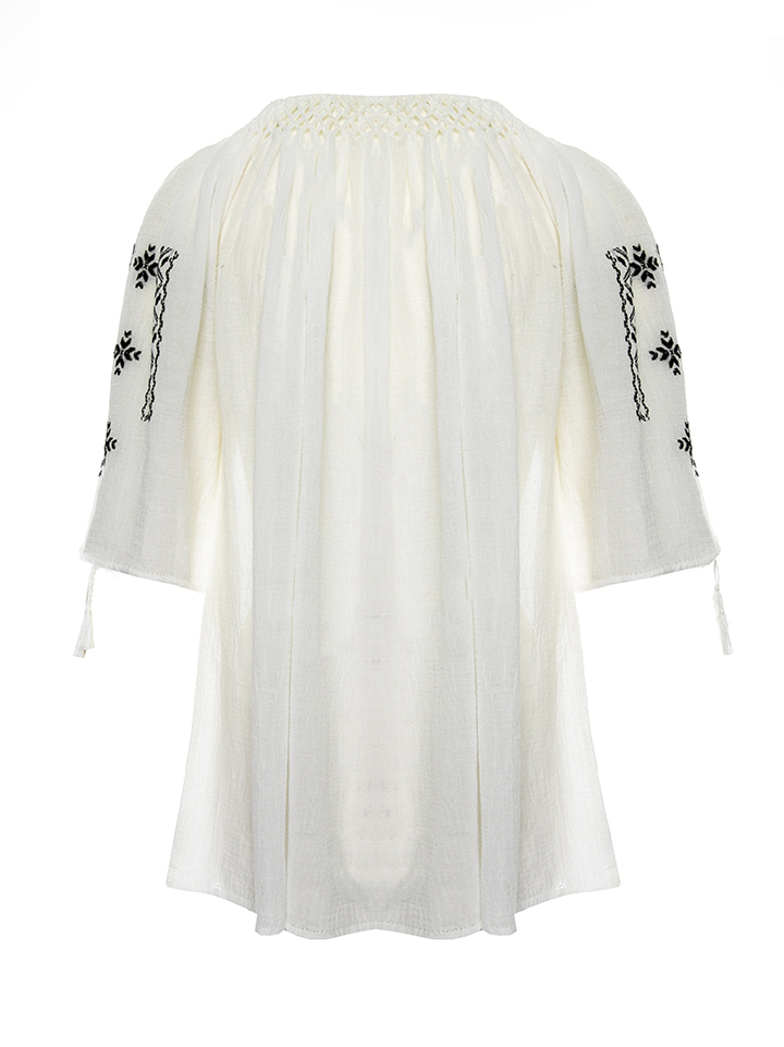 Romanian Embroidered Peasant Top With Black Geometric Pattern Handmade By Artisans