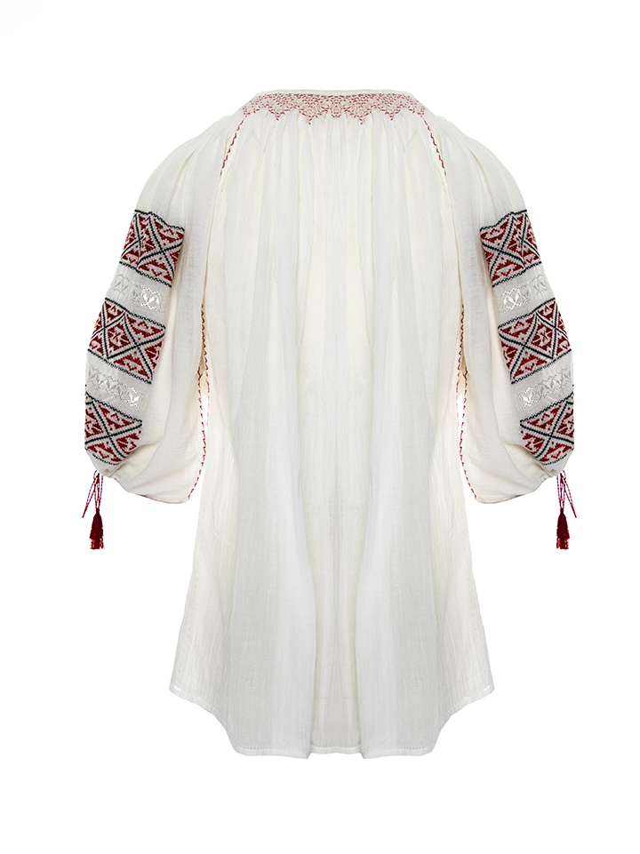 Romanian embroidered peasant top with  red burgundy geometric pattern Handmade by artisans