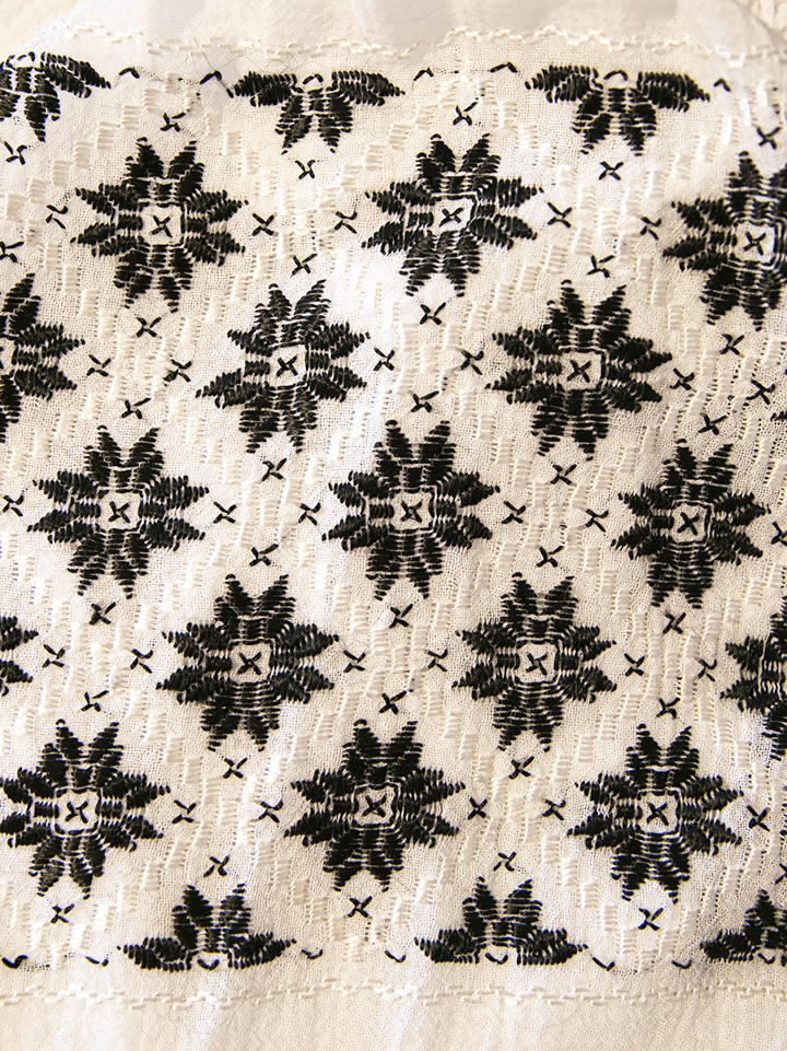 Romanian Embroidered Peasant Top With Silk Black Geometric Pattern Handmade By Artisans