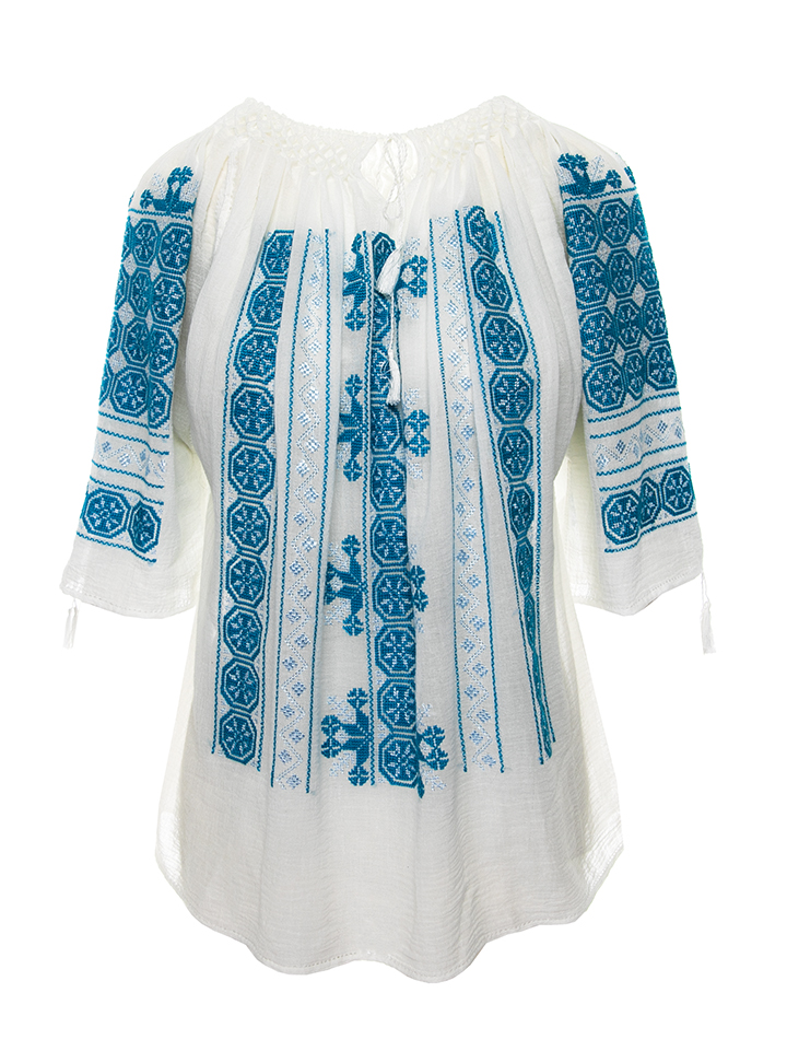 Romanian hand embroidered peasant blouse The Wheel Of Fortune Symbol in turquoise