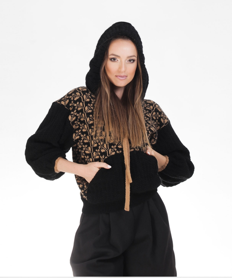 Romanian Knitted Hoodie  in black incorporating Romanian blouse style