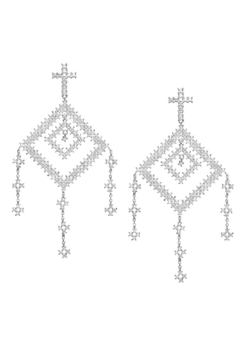 Cercei din argint  si zirconii motive traditionale romanesti Fereastra Sufletului