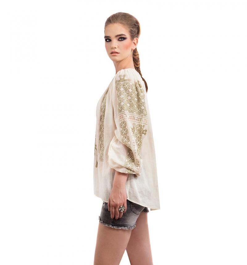 Romanian original peasant blouse in kaki